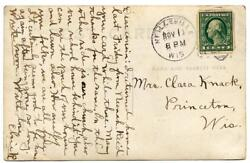 Washington Franklin 1c U.s. Automatic Vending Co. Private Perf On Post Card 1914