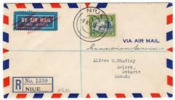 Niue 3sh First Day Registered Airmail To Canada 1938
