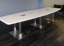 12 Ft Foot Modern Conference Table With Metal Legs And Grommet Holes In 8 Colors