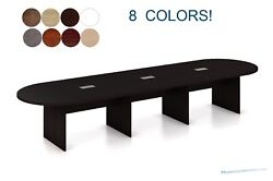 14 Ft Foot Oval Racetrack Conference Table With Grommets White Gray 8 Colors