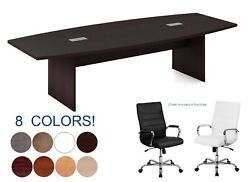 10 Ft Foot Modern Conference Table And 10 High Back Chairs Set In Many Colors