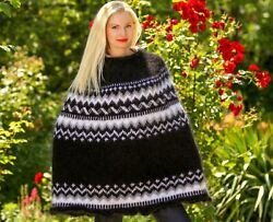 Black Icelandic Poncho Fuzzy Mohair Sweater Hand Knit Nordic Cowlneck Supertanya