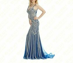 Evening Gown Formal Dresses Elegant Beaded Crystal Party Event Modern Dress Wear