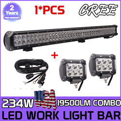 36inch 234w Led Work Light Bar Offroad Truck +2x 4inch 18w Pods Cube +wiring Kit