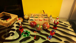 Vintage Christmas Ornaments Lot Of 22 Indent Balls Soldiers West Germany Poland