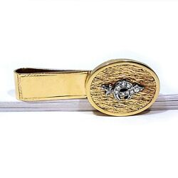 Solid 14k Yellow Gold And Diamonds Shriners Money Clip No Mono
