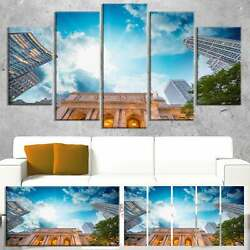 Designart 'New York Public Library' Large Cityscape Wall Art Blue 60 in. wide x