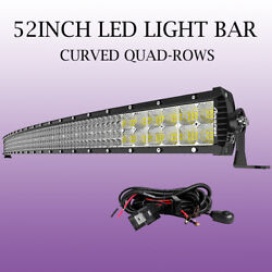 Curved Quad Rows 52INCH Led Work Light Bar 5712W Flood Spot Combo Offroad PK 54'