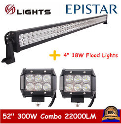 52inch 300w Led Bar Offroad Driving Combo Lamp Atv Ute+2x 18w Work Lights Truck