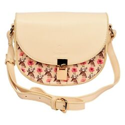 Women Cream Faux Leather Designer Handbag Hook and Loop Closure Adjustable Strap