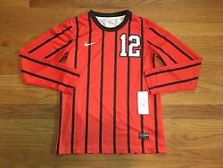 New Nike Boy's M Authentic Syracuse Team Id L/s Game Jersey Soccer Orange 12