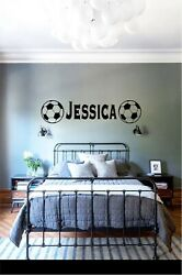 CUSTOMIZED NAME SOCCER WALL BEDROOM VINYL GRAPHIC STICKER WALLPAPER DECAL 3amp; 5FT
