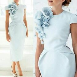 Formal Dress Evening Attire For Women Cap Sleeves Ankle Length Floral Design New