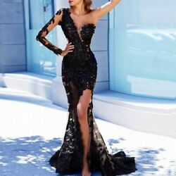 Long Evening Dress Full Sleeve Appliques Party Gown One Shoulder Sexy Attire New