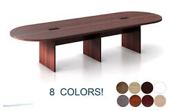 12 Ft Foot Oval Racetrack Conference Table With Grommets White Maple 8 Colors