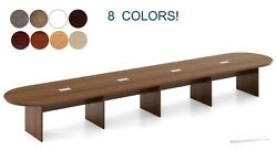 18 Foot Oval Racetrack Conference Table With Grommets White Gray And 8 Colors