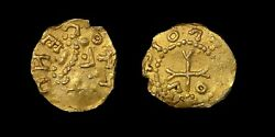 Early Continental Merovingian France Gold Tremissius