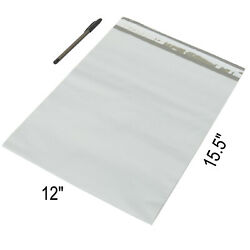 100 White Poly Mailers Plastic Envelopes Shipping Bags Packing Supplies 12x15.5