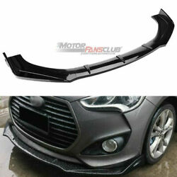 Glossy Black Front Bumper Lip Cover Spoiler Trim For Hyundai Veloster 2013-2017