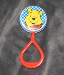 Vintage Winnie The Pooh Bear First Years Plastic Baby Rattle Toy Plastic