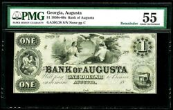 1850s -1860s Augusta, Georgia 1 Dollar Obsolete Bank Note Pmg About Unc 55