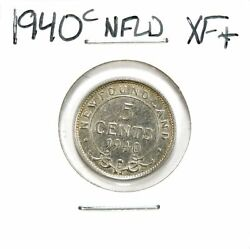 Lot of 4 1940 - 1945 Newfoundland Silver 5 Cents VF - XF+ Extra Fine+ #138878