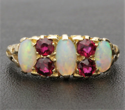 Edwardian Opal And Ruby Gallery Ring. 18ct Gold