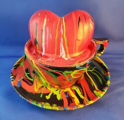 David Gilhooly Art Cup Of Heart Plastic Sculpture Signed Life Size Excellent