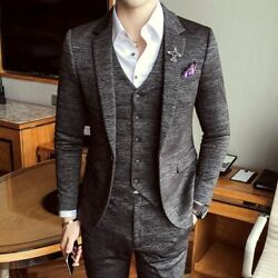 Formal Menand039s Suits Slim Fit British Style Smart Casual Party Event Clothing Wear