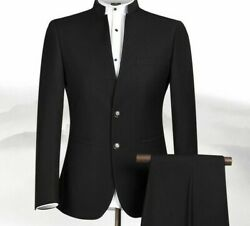 Formal Suit For Men Chinese Collar Simple Solid Patterned Event Attire Clothings