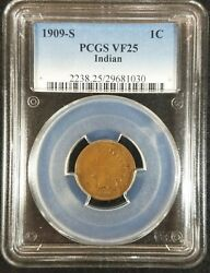 1909-s Indian Head Cent Pcgs Vf25 2238.25/29681030 Exquisite Coin Rare Key