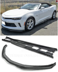 For 16-up Camaro Rs   Eos T6 Carbon Fiber Side Skirts Front Lip W/ Side End Caps