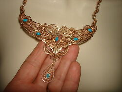 VTG 14KT ROSE GOLD FILIGREE CABOCHON TURQUOISE LAVALIER PENDANT NECKLACE