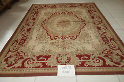 8'x10' Antique Old Dark Red Beige French Country Home Decor Wool Aubusson Carpet