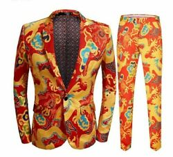 Printed Suit Set For Men Chinese Formal Event Clothing Wear Jacket And Pants New
