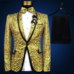 Formal Event Suit For Men Printed Single Breasted Party Male Clothing Suits Wear