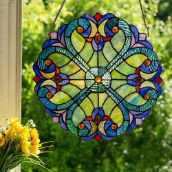 Style Stained Glass Round Window Panel Boho Heart Hanging Sun Catcher