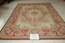 French Country Classic Swirls Scrolls Rose Floral Red Antique Aubusson Rug
