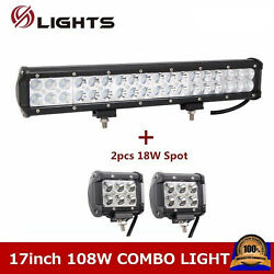 17inch 108w Led Work Light Bar Combo Off Road Truck Driving Ute Atv+2x 18w Pods