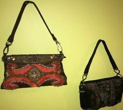 Lot of 2 Mary Frances Brown & Black Leather Beaded Shoulder Bags
