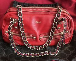 GUCCI Red double CHAIN strap AUTHENTIC shoulder bag handbag VERY RARE design!