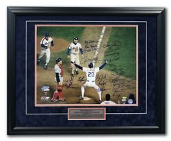 New York Mets 1986 World Series Team Signed 19 Players Championship 25x31 Frame