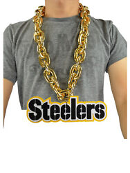 New Nfl Pittsburgh Steelers Gold Color Fan Chain Necklace Foam Magnet - 2 In 1
