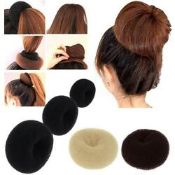 3 Pcs Hair Donut Bun Maker Ring French Roll Brown Black and Blond S M L