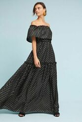 $498  Anthropologie Gloria Off-The-Shoulder Maxi Dress  size 4 new nwt