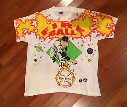 Vintage Mlb Boston Red Sox Roger Clemens 90and039s Caricature Tshirt Single Stitch