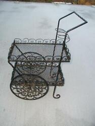 Vintage Wrought Iron Patio Furniture Spanish Revival Wine Tea Cart Plant Stand
