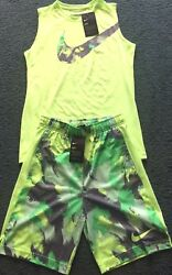 Nwt Nike Boys Ylg Neon Light Green/ Gray Dri-fit Tank Top And Shorts Set Large