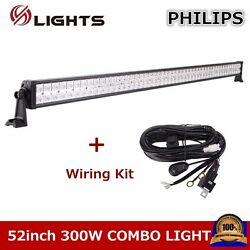 52inch 300w Led Light Bar Combo Offroad Atv Ute 4wd Driving Suv+wiring Kit 50/54