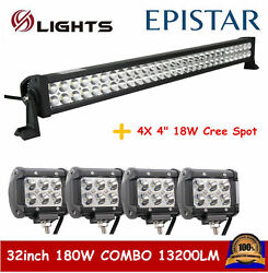 32inch 180w Led Offroad Light Bar Driving Combo Truck Atv Ute+4x 18w 4 Pods Car